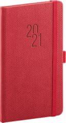Diář 2021: Diamante - červený - kapesní, 9 × 15,5 cm