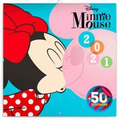 Kalendář 2021 poznámkový: Minnie, s 50 samolepkami, 30 × 30 cm