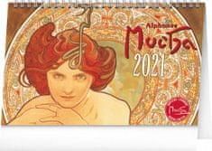 Kalendář 2021 stolní: Alfons Mucha, 23,1 × 14,5 cm