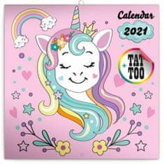 Kalendář 2021 poznámkový: Šťastní jednorožci, 30 × 30 cm