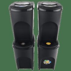 Prosperplast Sada 4 odpadkových košů SORTIBOX ANTRACIT 392x293x680 / 35L