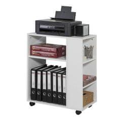 SoBuy FBT68-W Stůl tiskárny, kontejner na role, kancelářský vozík, boční vozík