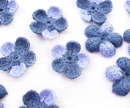 Kraftika 10szt dwa odcienie niebieski crochet dzianiny płaski kwiat
