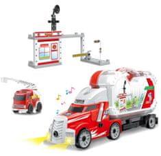Rappa Šroubovací auto s kufrem a hasičskou stanicí se zvukem a světlem