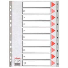 Esselte Rejstříky, šedá, A4, plast, 1-10 100105