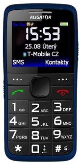 Aligator A675 Senior, mobil pro seniory, nabíjecí stojánek, velká tlačítka, obrázkové jednoduché menu, snadné ovládání
