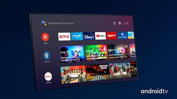OS Android, Smart TV, YouTube, Netflix, Prime Video, intuitívne rozhranie, prehľadný, rýchly
