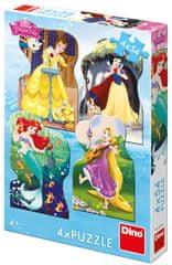 DINO Disney princezny a kamaráti 4x54 dielikov