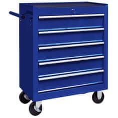 shumee Dielenský vozík na náradie s 5 zásuvkami modrý