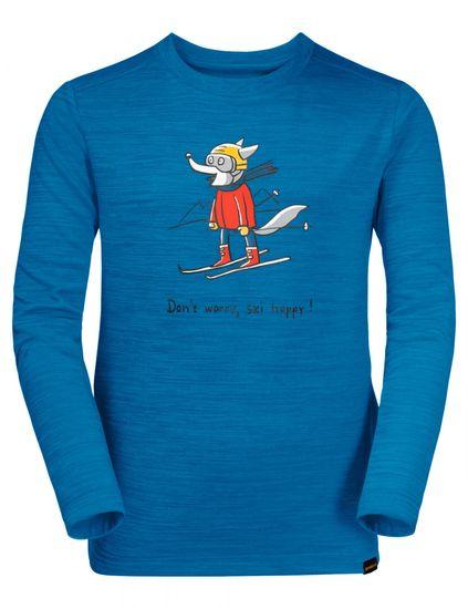 Jack Wolfskin chlapčenské funkčné tričko SKIING WOLF LONGSLEEVE KIDS 1608831-1361 140 modrá
