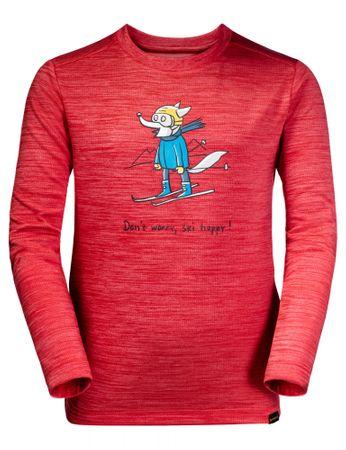 Jack Wolfskin lány funkcionális póló SKIING WOLF LONGSLEEVE KIDS 1608831-2122, 128, piros