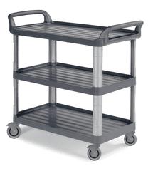 CLEANLIFE jídelní protihlukový vozík 3700 - hliníkové stojny, šedá barva