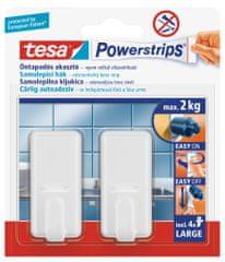 Tesa tesa Powerstrips® Háčky, 1ks, velký, obdélníkový, plastový, bílý, nosnost 2 kg