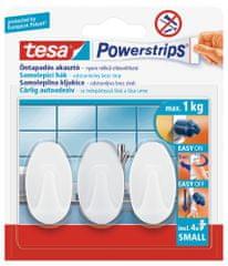 Tesa tesa Powerstrips® Háčky, 3ks, malé, oválné, plastové, bílé, nosnost 1 kg