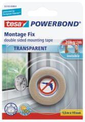 Tesa Priesvitná obojstranná lepiaca páska tesa® Powerbond TRANSPARENT na priehľadné povrchy, 10 cm pásky udrží až 2 kg, 1,5m:19mm