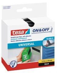 Tesa tesa® On&Off Samolepicí suchý zip, černý, obě strany, 2,5m:20mm