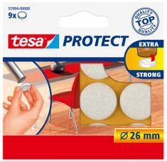 Tesa tesa® PROTECT, Plstěná samolepicí podložka pod nábytek, výsek 26mm, bílá, 9ks