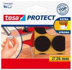 Tesa tesa® PROTECT, Plstěná samolepicí podložka pod nábytek, výsek ?26mm, hnědá, 9ks