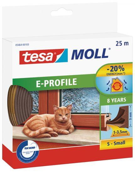 Tesa Samolepiace tesnenie s profilom E tesamoll®, izolácia pred prievanom, páska na okná a dvere a medzery od 1 do 3,5 mm, 25m