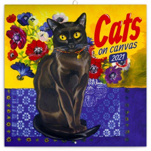 Kalendář 2021 poznámkový: Kočky na plátně, 30 × 30 cm