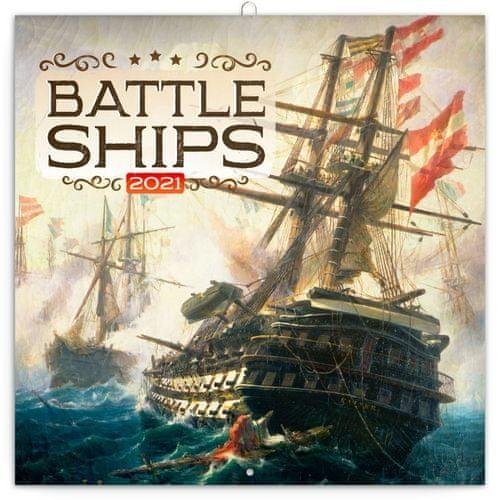 Kalendář 2021 poznámkový: Bitevní lodě, 30 × 30 cm