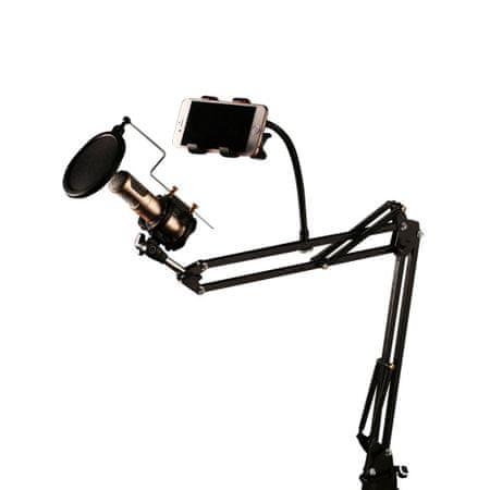 REMAX CK-100 állvány mikrofonhoz és telefonhoz, pop filter, fekete