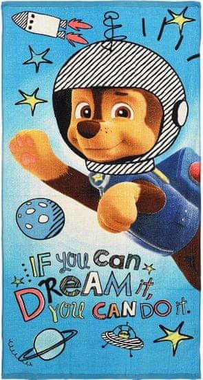 Sun City Osuška Paw Patrol / ručník Paw Patrol Chase Astronaut 70x140cm