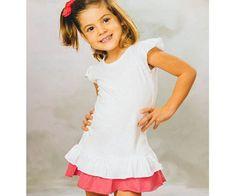 Kraftika Tričkové šaty s volány bílo-růžové (1 rok)