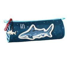 Brunnen Penál kulatý látkový tmavě modrý - žralok,