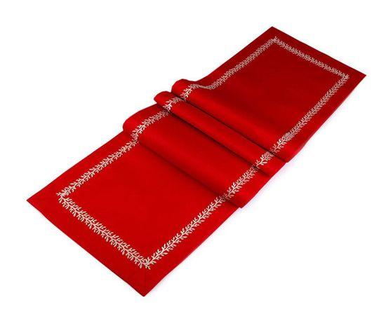 Kraftika 1ks červená vánoční běhoun na stůl s lurexovým prýmkem