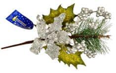 EverGreen Vetva s vianočnou ružou a bobuľami, výška 45 cm B