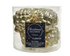 Kaemingk Set sklenených ozdôb šiška, zlatá, mat s trblietkami