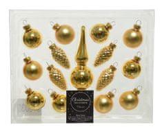 Kaemingk Set sklenených mini ozdôb so špičkou, zlatá, 15 ks