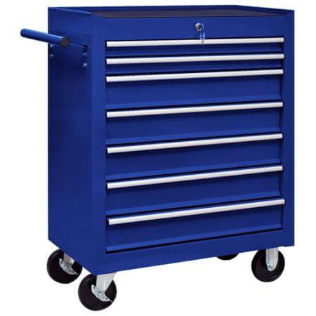 shumee Warsztatowy wózek narzędziowy z 7 szufladami, niebieski