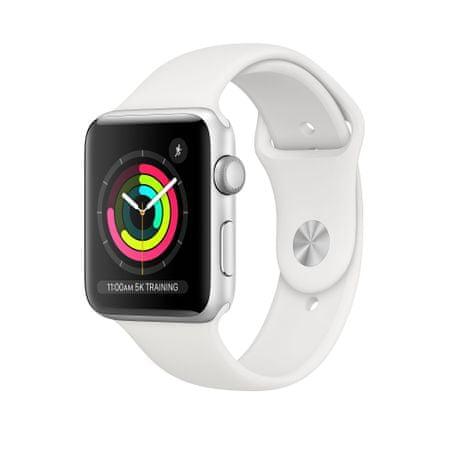 Apple Watch Series 3 GPS pametna ura, 38 mm, srebrno aluminijasto ohišje z belim paščkom