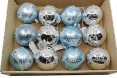 Seizis Set 12 koulí plastových modrá/stříbrná, mix druhů - 8cm