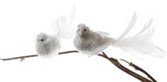 Seizis Set 2 dekoračných závesných bielych vtáčikov, 20cm