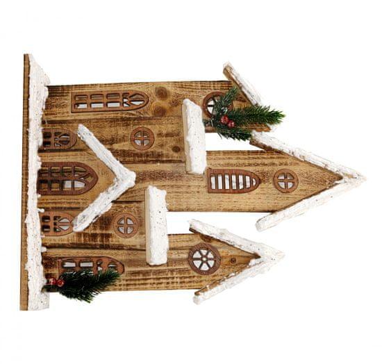 Seizis Domečky hnědé dřevěné 2D s 10LED - 43cm