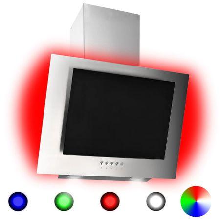 shumee Okap kuchenny LED RGB, 60 cm, stal nierdzewna i hartowane szkło