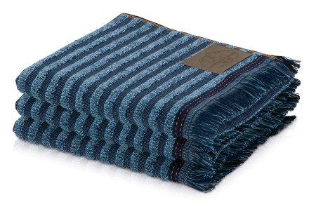 Möve Črtasta kopalna brisača DENIM z resicami, 80x150cm, denim