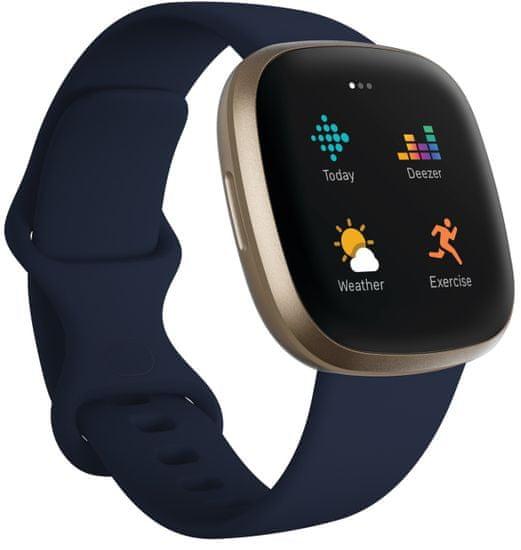 Fitbit Versa 3, Midnight/Soft Gold Aluminum