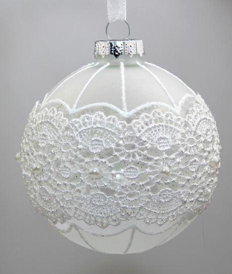 Seizis Set 12 koulí skleněných bílých - s dekorem 8cm, mix 4 druhů