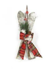 DUE ESSE Vianočná dekorácia lyže s vetvičkou a mašľou 28 cm