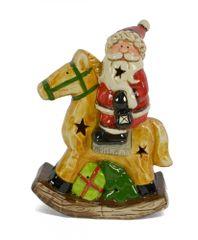 DUE ESSE Keramický svítící Santa na houpacím koni 25 cm
