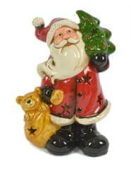 DUE ESSE Keramický svítící Santa se stromečkem a méďou 21 cm