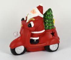 DUE ESSE Keramický Santa na skútru 13 cm, svítí zeleně