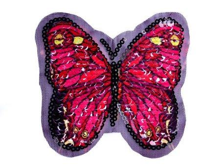 Kraftika 1szt fioletowo-różowy aplikacja motyl magiczne cekiny