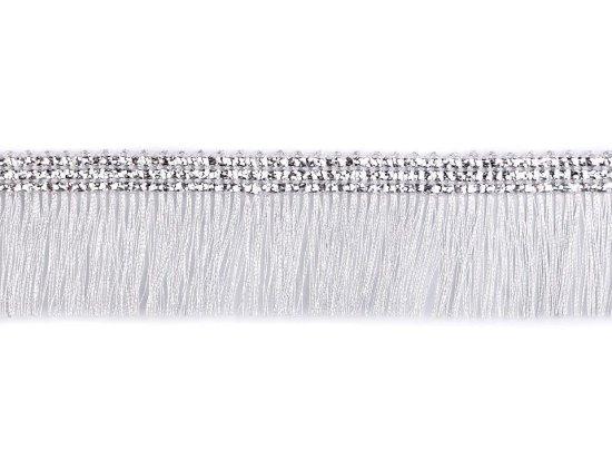 Kraftika 18m stříbrná leonské třásně šíře 30mm, a střapce
