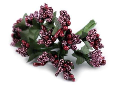 Kraftika 12pc 6 sötétvörös virágos / virágüzlet huzal