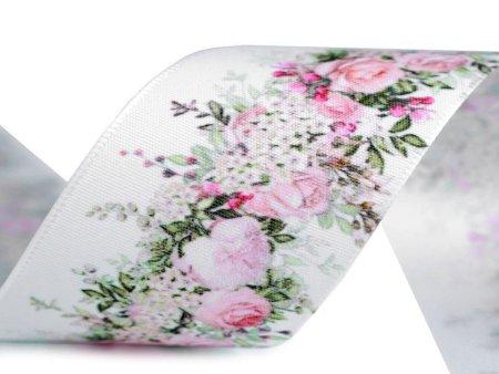 Kraftika 22.5m różowy jasny biały wstążka satynowa szerokość 40mm